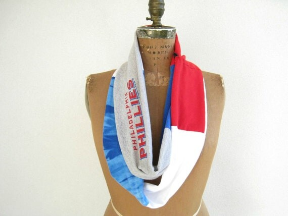 Philadelphia Phillies T Shirt Scarf / Infinity / Eternity / Red White Royal Blue Gray / Recycled / Autumn / Fall / Soft / Fun / by ohzie