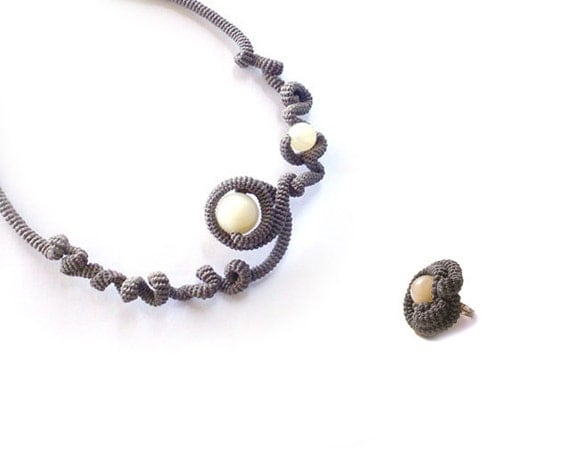 Intricate Fiber Jewellery Set Necklace - Ring Free Form Burnt Driftwood