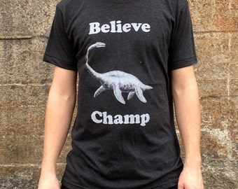 Believe Champ T-shirt, Men's/Unisex American Apparel Heather Black Tri-Blend Tee