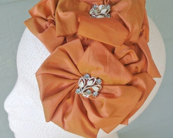 The RUBY - orange headpiece, orange hat, orange fascinator, orange hair accessory