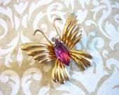 Vintage Coro Butterfly Pin or Brooch w Rose Rhinestone