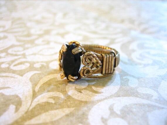 Vintage GF Wire Filigree Ring with Black Onyx