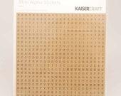 Kaisercraft Mini Alpha Stickers -- Latte Brown -- 1 Sheet 529 Shapes