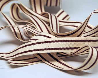 Cotton Stripe Ribbon 5/8 inch -- Natural Burgundy -- Off White Wine Merlot Cream