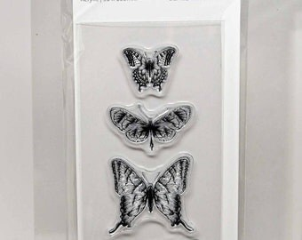 KaiserCraft Background Clear Stamps -- Acrylic -- Butterflies Distressed Shabby Chic
