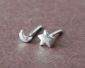 So tiny star and crescent moon stud earrings in sterling silver - nose studs Valentine gift