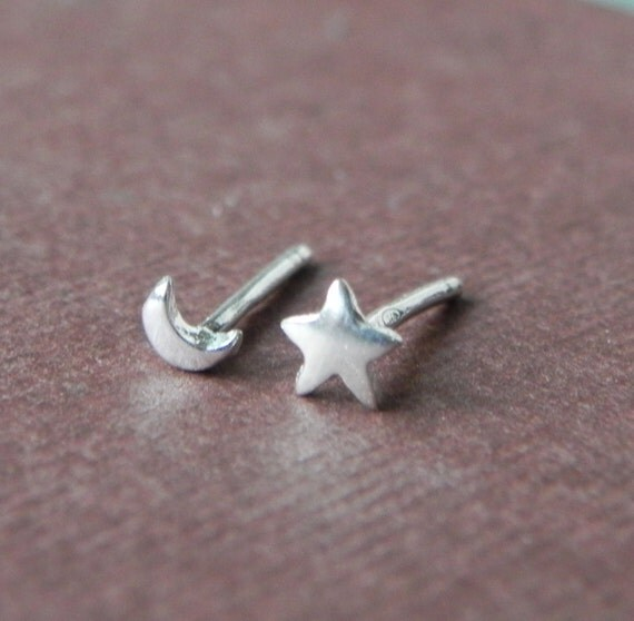 So tiny star and crescent moon stud earrings in sterling silver - nose studs