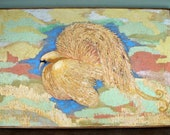 SALE Vintage Pastel Bird Oil Painting