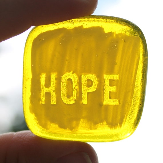 Yellow Hope Fused Glass Worry Stone