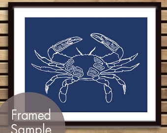 Crab Butcher Chart - Art Print (featured in Navy) (Buy 3 and get One Free) Customizable Colors