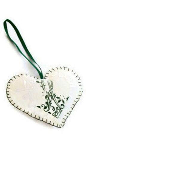 RESERVED for Cathy Wyatt Monogram H Vintage Hanky Heart Ornament