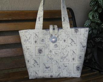 Tote Bag,Gray and Cream Bird