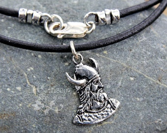 Viking Warrior Necklace -Awesome Viking head with horned helmet & beard -on black leather cord- mens and womens sizes- free shipping USA