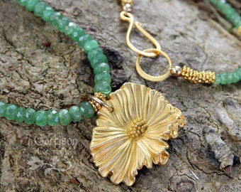 Spring Poppy necklace & earring set - gold flower charm, green sapphire faceted gemstones, gold beads - luxury - free shipping USA