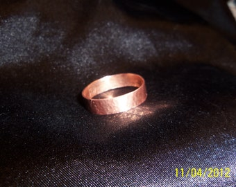 Rustic Hammered Copper Band Size 13 1/2