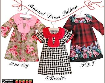 Ava Peasant Girls Dress Patterns + Free Mother-Daughter Apron Pattern, Children's Sewing Patterns, PDF Baby Toddler