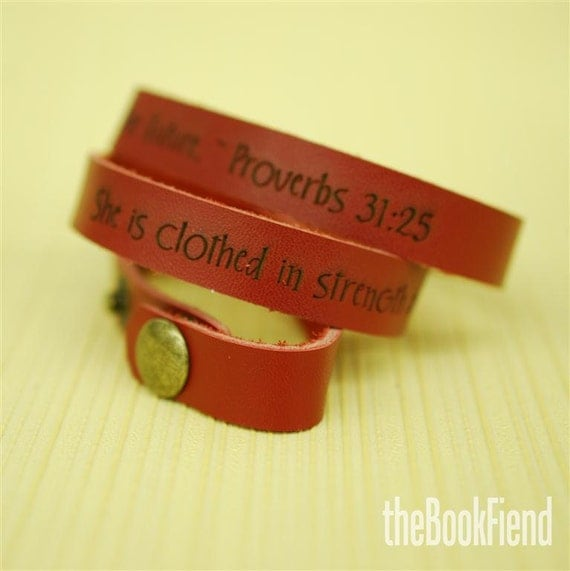 Your favorite quote --- custom engraved leather wrap bracelet RED LEATHER