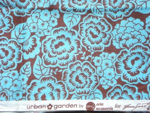 SALE : Urban Garden Erin McMorris aqua brown flowers Free Spirit fabrics FQ last piece