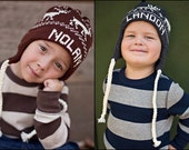 Personalized Earflap Hat,Name Hat, sizes 2-5 years or 6-10 years