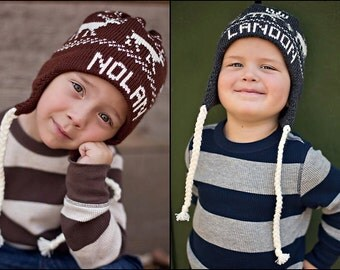 Personalized Earflap Hat  custom made with name or team, sizes: 2-5 years or 6-10 years