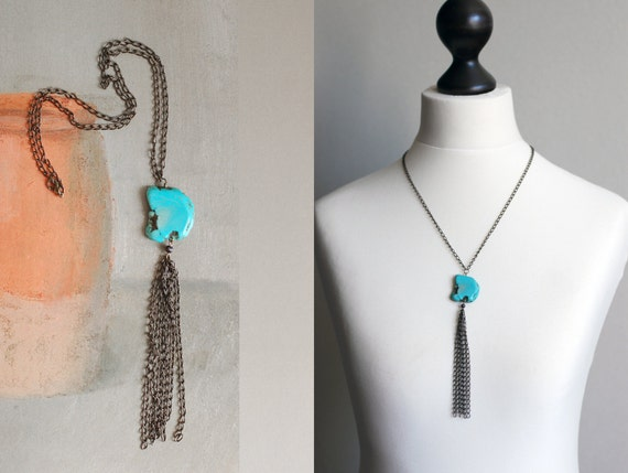 SALE 14% OFF Lovely chain necklace with Turquoise Nugget Freeform Bead