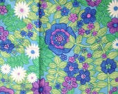 Bright Green Purple and Blue Flowers and Vine Vintage Print Fabric