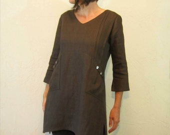 Linen Tunic - Chocolate Brown with Pintucks and Shell Buttons