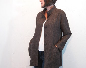 Tweed Jacket with Mandarin Collar - Brown with Covered Buttons