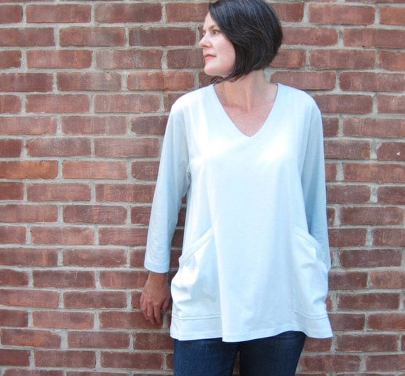Cotton Tunic - Light Blue Knit - Oversized with Pockets