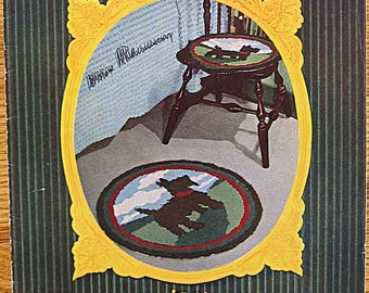RARE Vintage 1950 Hooked Rug Album Design Book No. 55, Original Book by Lily Mills, Scotty Dog, Floral, Garden, Chair Cover
