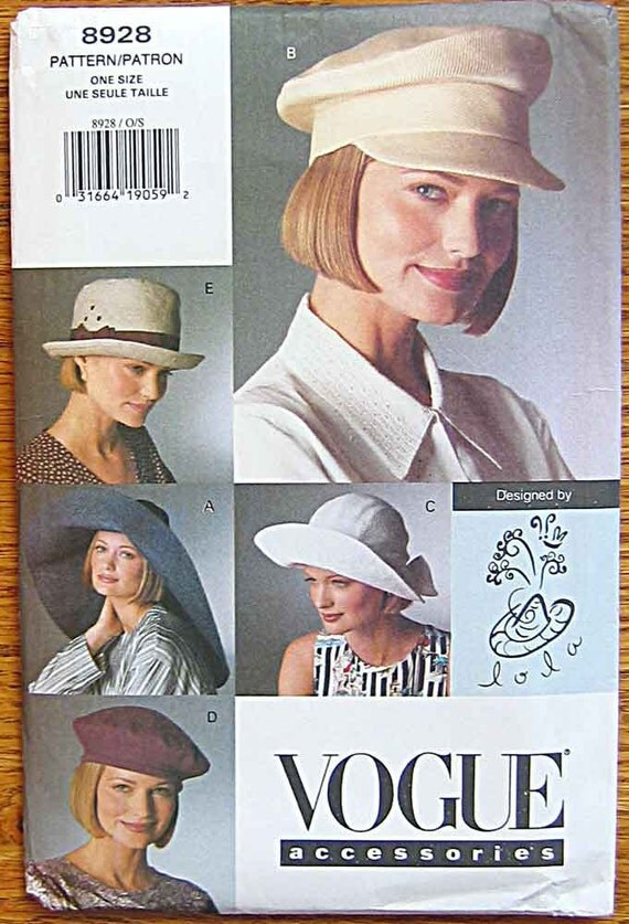 Misses' Accessories, Hats, 5 Styles, Fedora, Beret, Wide Brim, Designed by Lola, Vogue 8928 Pattern UNCUT