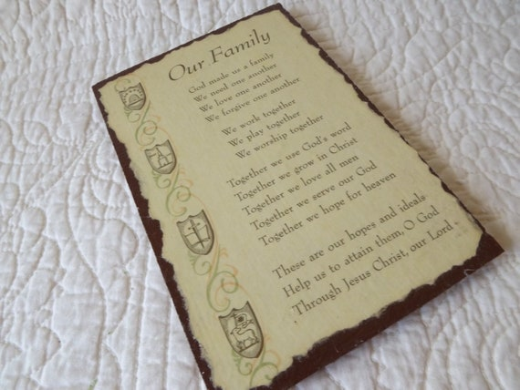 Vintage Wood Decoupaged Our Family Prayer Picture