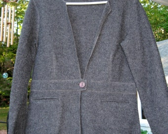 Grey Wool Jacket Sweater 100% Wool Stylish Jacket Talbots Label Ladies Small to Medium