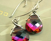 Swarovski Briolette Crystal Earrings in Volcano - On Sterling Silver Earwires - hazaricreations