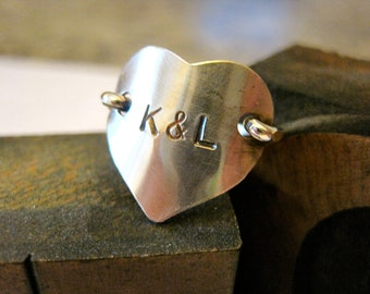 Sterling Silver Heart Ring, Personalized, Name and Date, Children, Boyfriend, Husband Initials