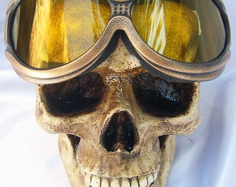 STEAMPUNK GOGGLES - Antique Gold Distressed-Look Heavy Duty Over-sized 'Over Glasses' Cyber-Techno SWAT Tactical Force Burning Man Goggles