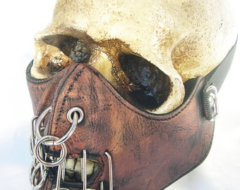 Copper Rust Colored Distressed-Look HANNIBAL LECTER Steampunk Dust Riding MASK with O-Rings  - A Burning Man Must Have