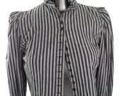 80s Tailored Steampunk Pinstripe Ruffle Collar Crop Top XS // English Pirate Charmer