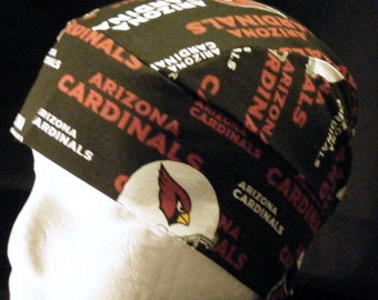 Black Skull Cap with Arizona Cardinals, Chemo Cap, Hats, Head Wrap, Motorcycle, Handmade, Football, Surgical Cap, Helmet Liner, Hair Loss