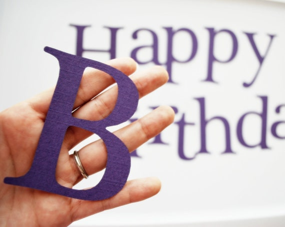 Die Cut Letters, Happy birthday die cut letters in Purple for Banner (3.5 inches tall) Textured Cardstock A83