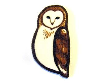 Barn Owl Brooch Pin Shrinky Plastic