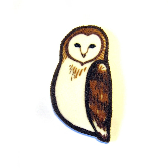 Barn Owl Brooch Pin Shrinky Plastic