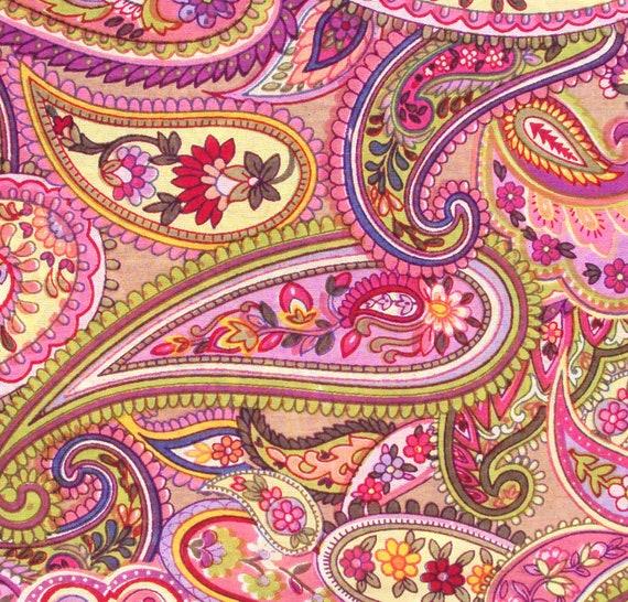 cotton print fabric - Pink Green and Purple Paisley Print - 1 yard ctnp137