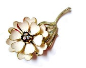 Vintage Signed Coro Enameled Cream Flower AB Rhinestone Pin Brooch