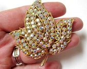 "Rhinestone Leaf Brooch Vintage Pin AB Aurora Borealis 2"""