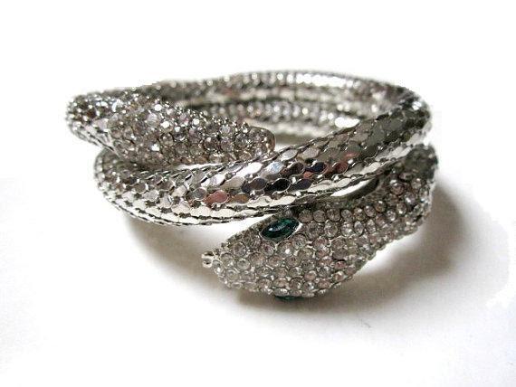 Vintage Costume Jewelry Coiled Rhinestone Snake Bracelet
