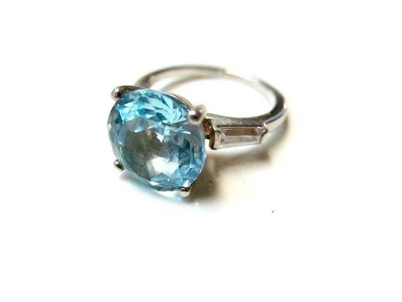 Fabulous AVON 925 Sterling Silver Big Blue Topaz Ring Size 5