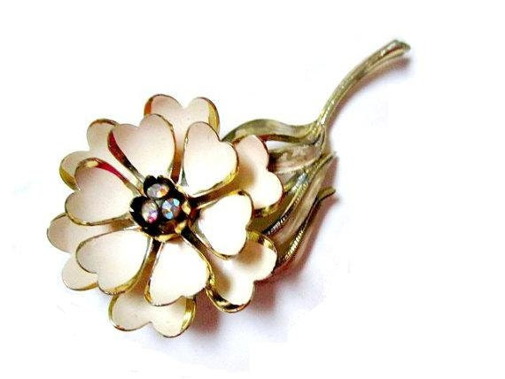 Vintage Signed Coro Enameled Cream Flower AB Rhinestone Pin Brooch