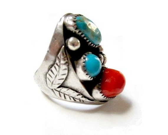 Handcrafted HUGE Sterling Silver Genuine Turquoise and Coral Nuggets Mens Ring Size 9
