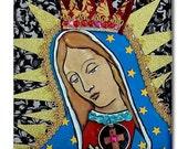 65% Off- Mexican Folk Art Ceramic Tile  Virgin of Guadalupe Art  Mexican Talavera cOASTER